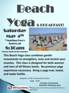 Beach Yoga at pelican landing. May 4, 2019 8:30am